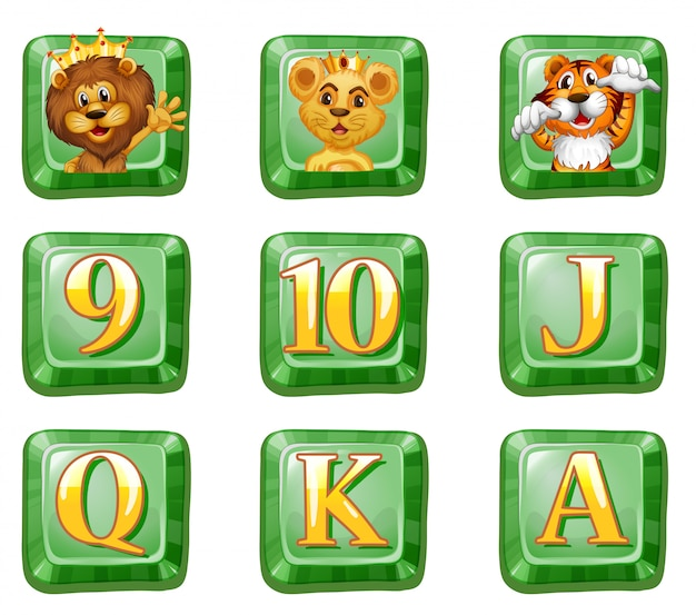 Dieren en letters op groene knoppen Gratis Vector
