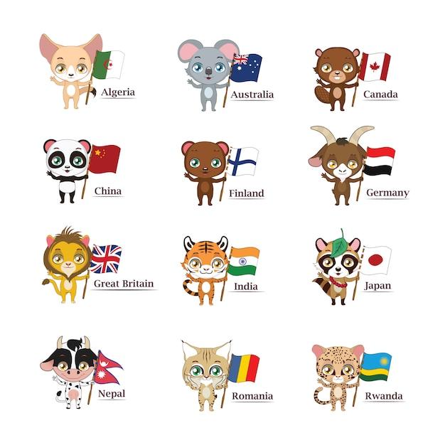 Dieren en vlaggen collectie Gratis Vector