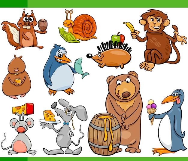 Dieren en voedsel cartoon set Premium Vector