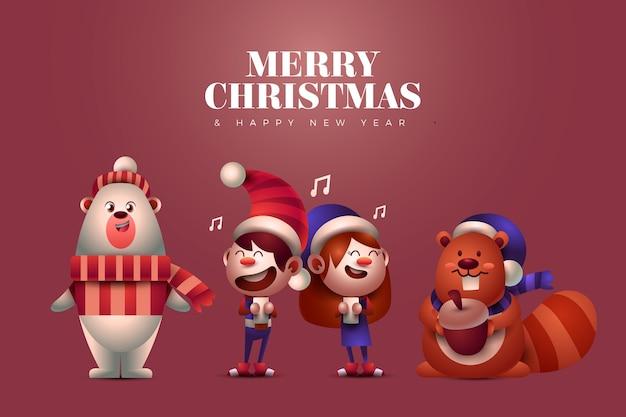 Dieren en zingende kerstkarakters van kinderen Gratis Vector