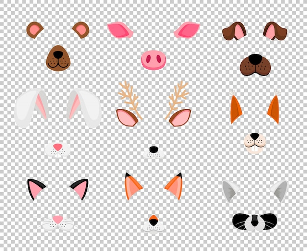 Dieren gezichtsmaskers ingesteld op transparant Premium Vector