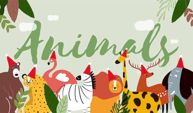 Dieren in een cartoon-stijl Gratis Vector