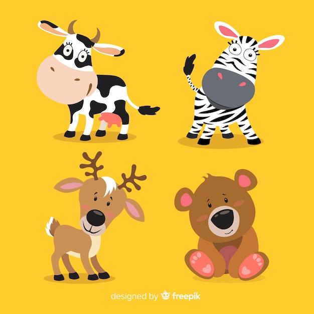 Dieren in het wild cartoon dieren collectie Gratis Vector