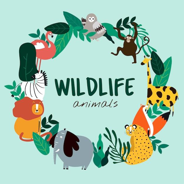 Dieren in het wild dieren cartoon stijl dieren sjabloon vector Gratis Vector