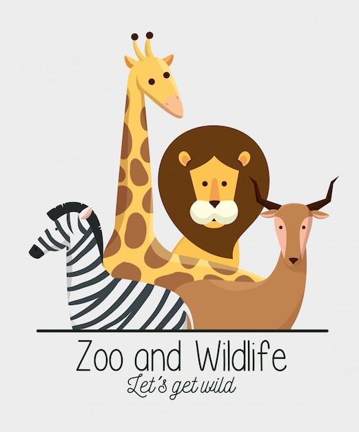 Dieren in het wild met natuurlijk safarireserve Gratis Vector