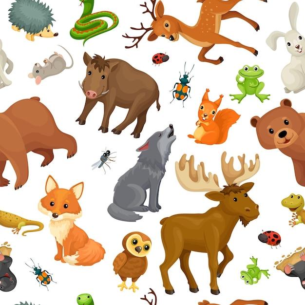 Dieren van het bos. naadloze patroon. Gratis Vector