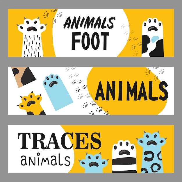 Dieren voet banners set. kattenpoten en klauwenillustraties met tekst op witte en gele achtergrond. cartoon afbeelding Gratis Vector