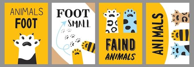 Dieren voet posters set. kattenpoten en klauwenillustraties met tekst op witte en gele achtergrond. cartoon afbeelding Gratis Vector