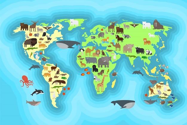 Dieren wereldkaart behang ontwerp Premium Vector