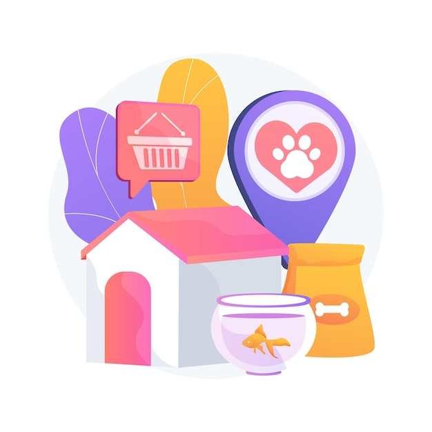 Dieren winkel abstract concept illustratie. dierenbenodigdheden online, online winkel voor dierbenodigdheden, een puppy kopen, medicijnen en eten, accessoires voor huisdieren, website voor verzorgingsproducten Gratis Vector