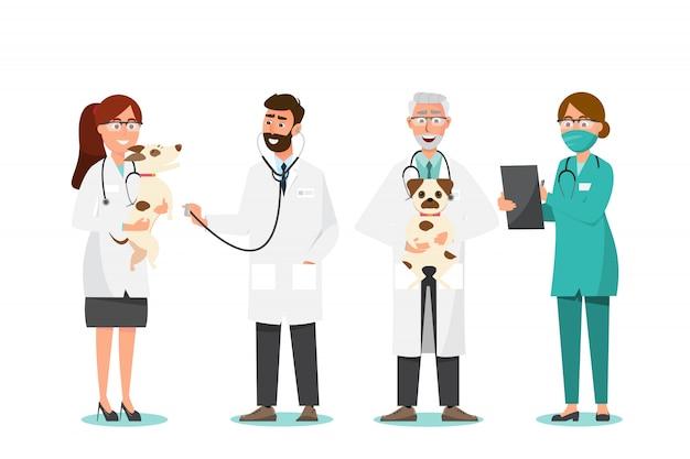 Dierenarts en arts met hond in dierenartskliniek Premium Vector