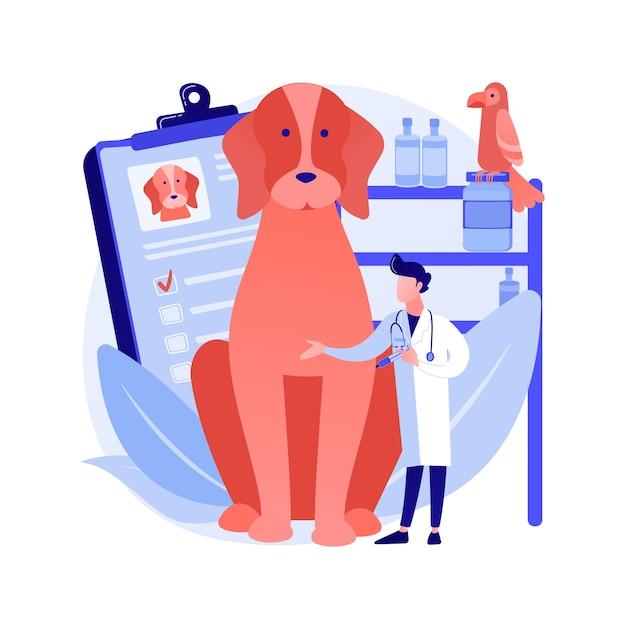 Dierenarts kliniek abstract concept vectorillustratie. dierenkliniek, chirurgie, vaccinatiediensten, dierenkliniek, medische zorg voor huisdieren, veterinaire dienst, diagnostische apparatuur abstracte metafoor. Gratis Vector