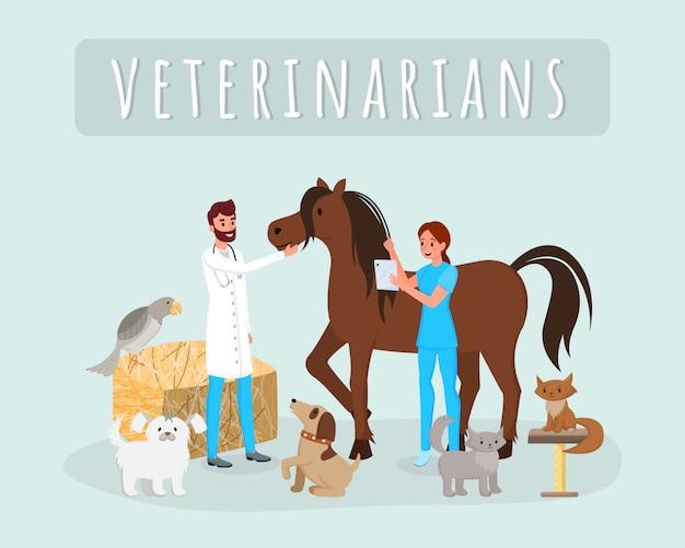 Dierenartsen werken met dieren Premium Vector