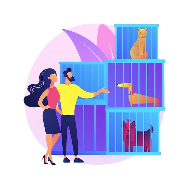 Dierenasiel abstract concept illustratie. dieren redden, huisdier adoptie proces, een vriend kiezen, redden van misbruik, donatie, onderdak, vrijwilligersorganisatie Gratis Vector