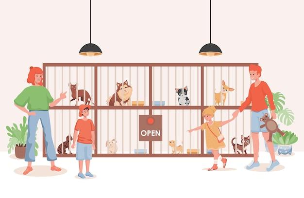 Dierenasiel of dierenwinkel vlakke afbeelding. Premium Vector
