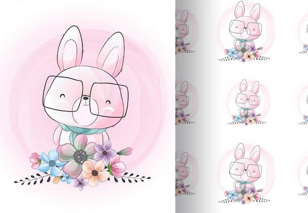 Dierenkonijntje met bloemen Premium Vector
