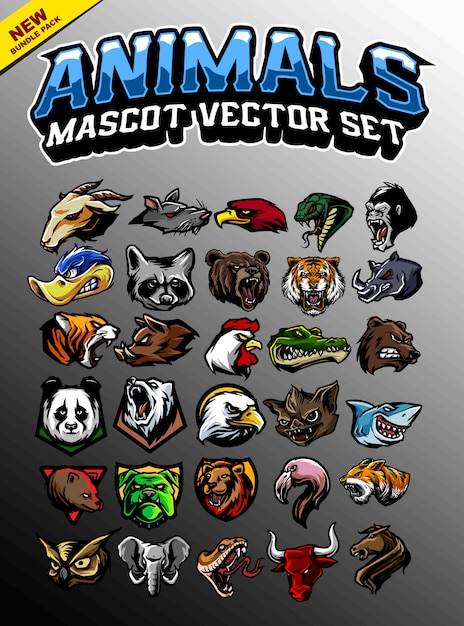 Dierenkop mascotte Premium Vector