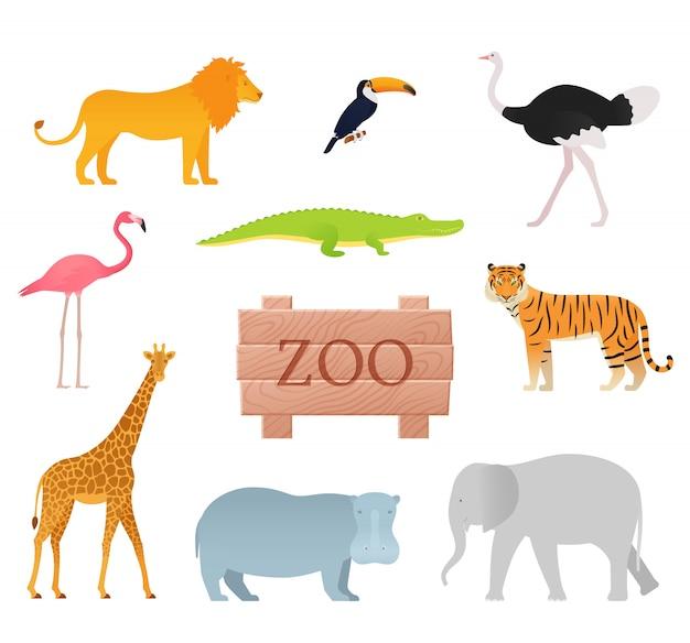 Dierentuin dieren. . dierlijke pictogrammenset met houten bord. Premium Vector