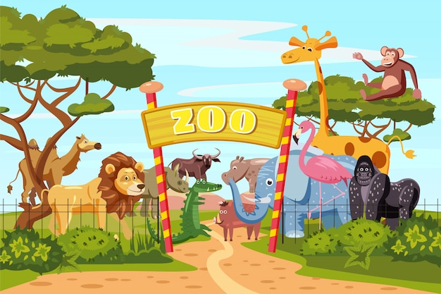 Dierentuin toegangspoorten cartoon poster met olifant giraffe leeuw safari dieren en bezoekers op grondgebied Premium Vector