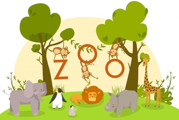 Dierentuindieren, schattige stripfiguren, leeuw, apen en pinguïns, illustratie Premium Vector