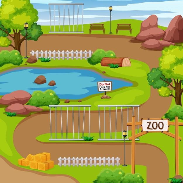 Dierentuinpark met boom en vijver Gratis Vector