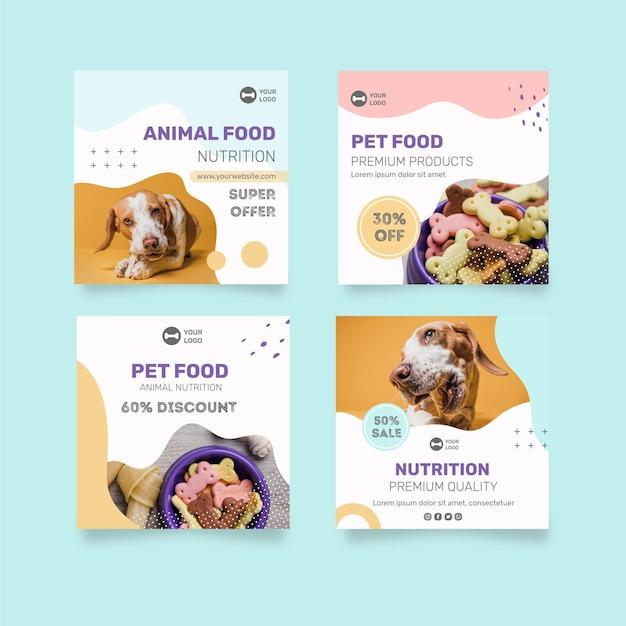 Dierenvoeding instagram-berichten Gratis Vector