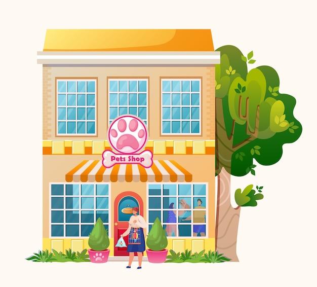 Dierenwinkel. exterieur marktgebouw. . vrouw karakter met huisdieren. papegaai en vis. Premium Vector