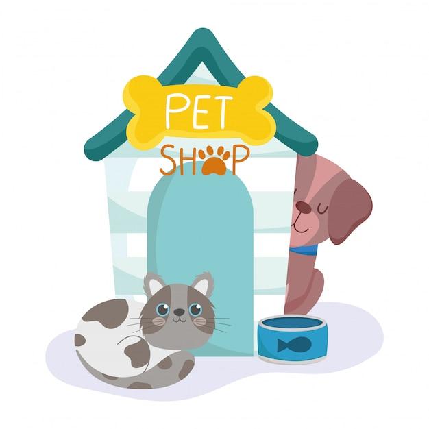 Dierenwinkel, gevlekte katten- en hondenhuis en kom dieren cartoon Premium Vector