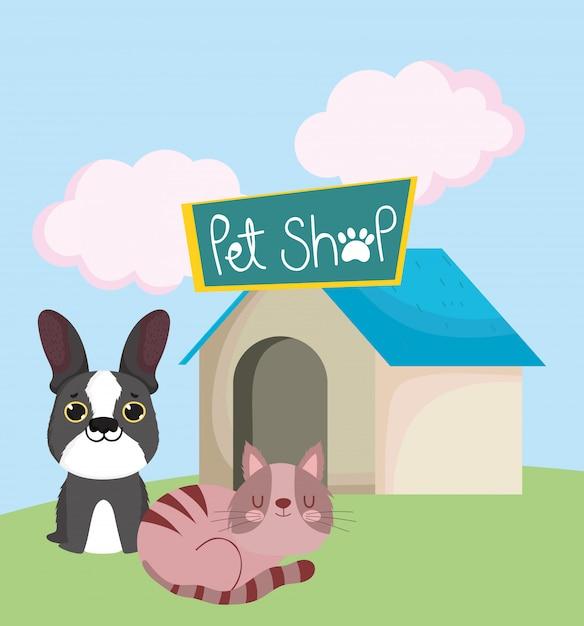 Dierenwinkel, hond en slapende kat met huis dierlijk beeldverhaal Premium Vector
