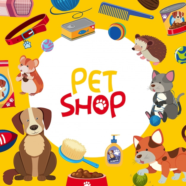 Dierenwinkel posterontwerp met veel huisdieren en accessoires Premium Vector