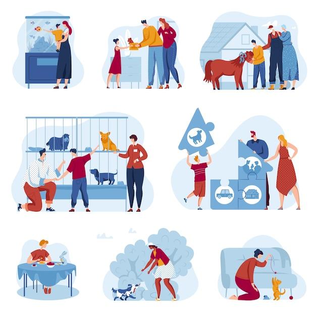 Dierenwinkel winkel vector illustratie set, platte familie eigenaar stripfiguren aannemen dakloze dieren onderdak Premium Vector