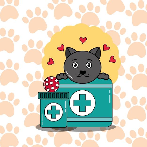 Diergeneeskundige zorg voor de verzorging van huisdieren Premium Vector