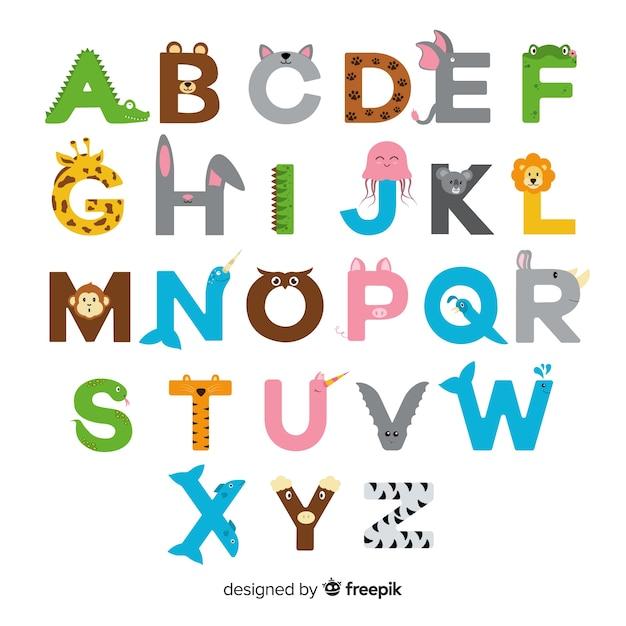 Dierlijk alfabet met kleurrijke letters Gratis Vector