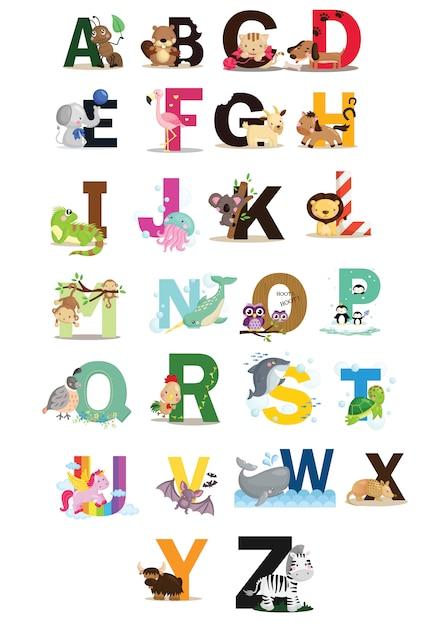 Dierlijk alfabet Premium Vector