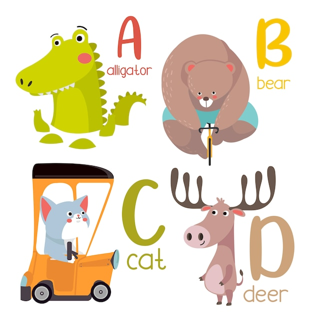 Dierlijke alfabet afbeelding a tot p. leuke dierentuin alfabet met dieren in cartoon-stijl. Premium Vector