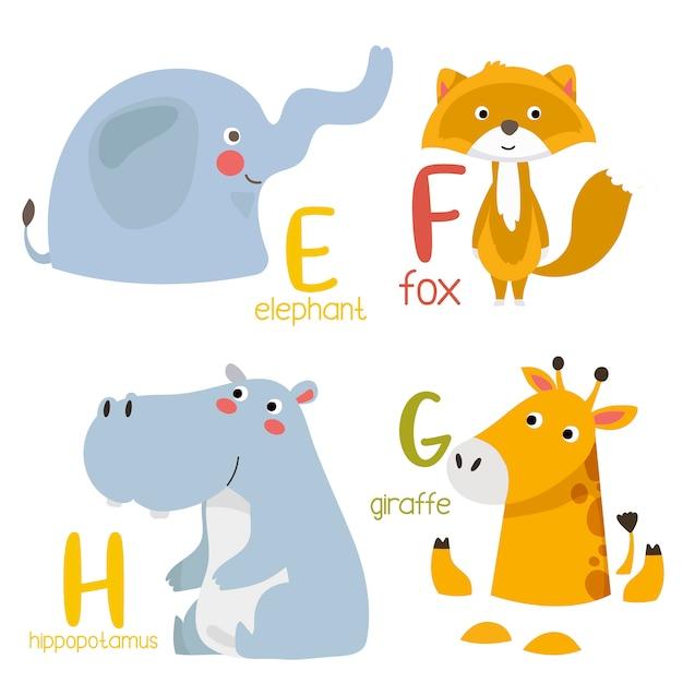 Dierlijke alfabet grafische e tot f. leuke dierentuin alfabet met dieren in cartoon-stijl. Premium Vector