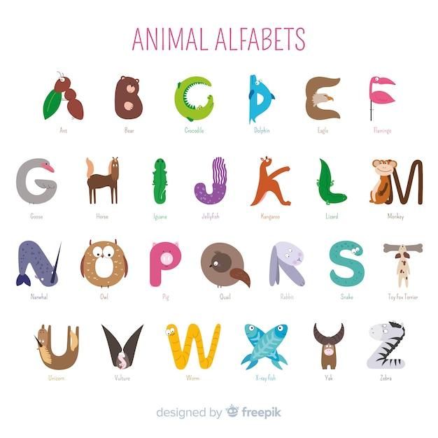 Dierlijke alfabetcollectie als introductie op school Gratis Vector