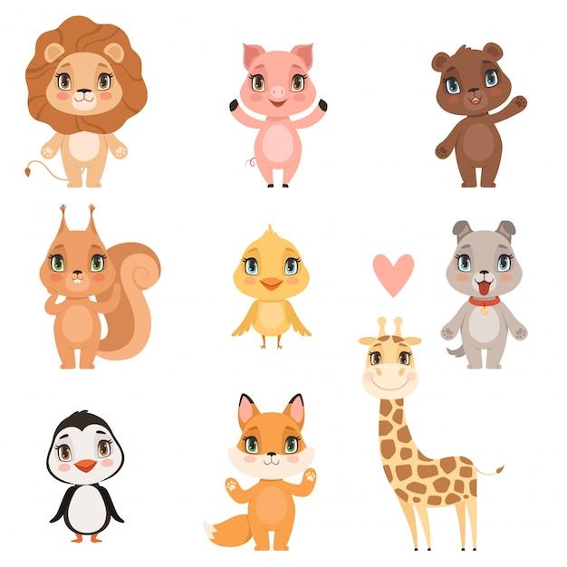 Dierlijke baby cartoon. de binnenlandse varkenshond en de wilde leeuw dragen eekhoorn en giraf grappige leuke dieren kinder afbeeldingen Premium Vector