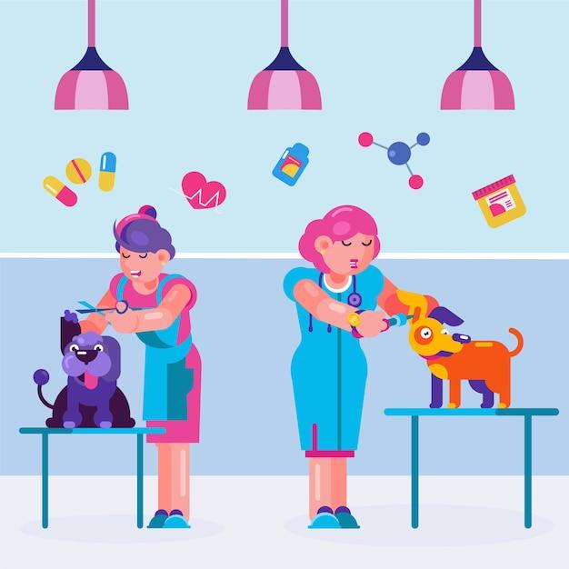 Dierlijke hond bij dierenarts, cartoon verzorgen illustratie. veterinaire dienst voor huisdier, cartoon vrouw persoon. Premium Vector