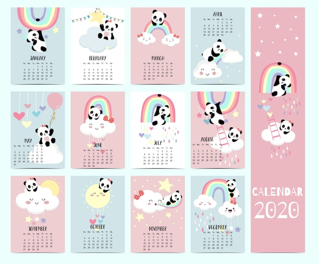 Dierlijke kalender 2020 met panda, beer, regenboog voor kinderen. Premium Vector