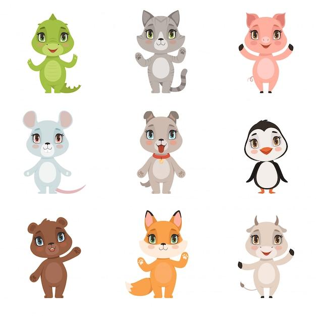 Dierlijke kinderen collectie, wilde krokodil beer pinguïn vos binnenlandse kleine schattige grappige baby dieren hond kat geit varken tekens geïsoleerd Premium Vector