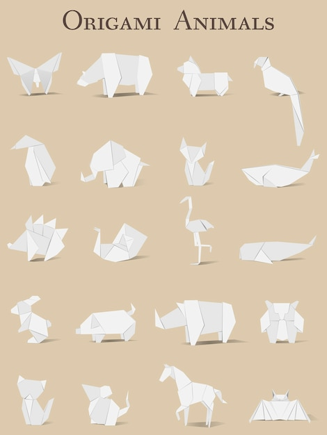 Dierlijke origami vector Premium Vector