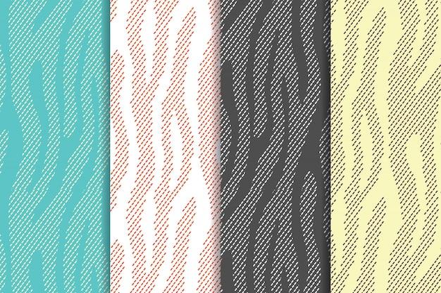 Dierlijke print naadloos patroon ingesteld met zebra tijgerstrepen. textiel dat dierenbont herhaalt Premium Vector