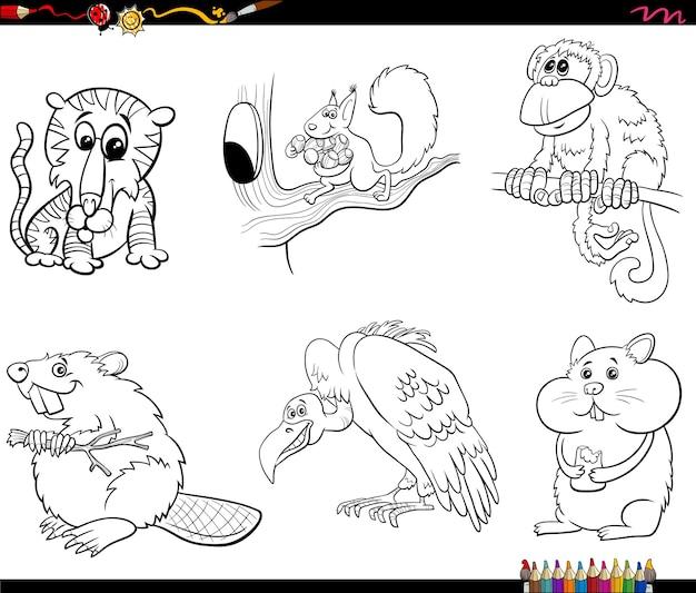 Dierlijke stripfiguren instellen kleurboekpagina Premium Vector