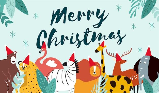 Dierlijke thema merry christmas card vector Gratis Vector