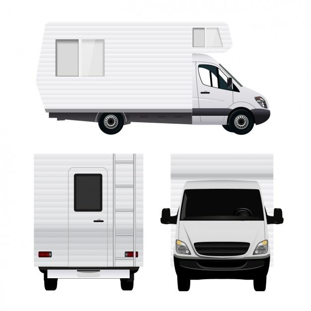 Differents uitzicht op een caravan Gratis Vector