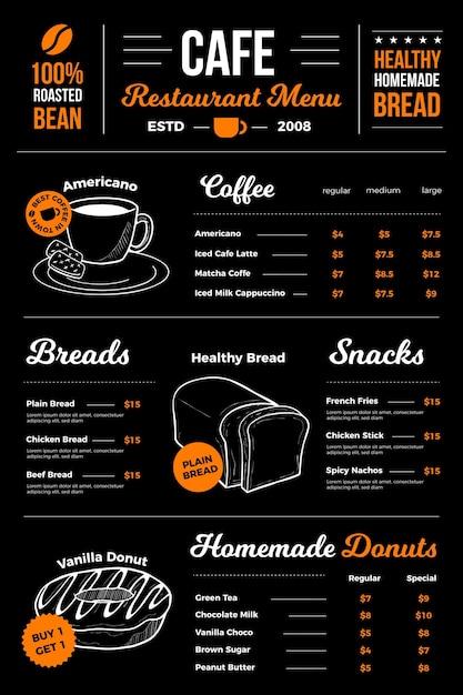 Digitaal café-restaurantmenu-ontwerp Gratis Vector