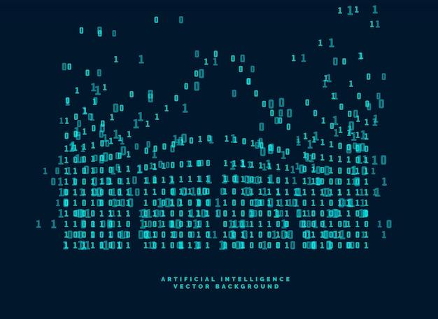 Digitaal codediagram voor technologie en kunstmatige intelligentie Gratis Vector