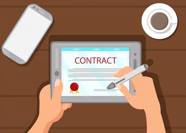 Digitaal contract die vlakke vectorillustratie ondertekenen Premium Vector