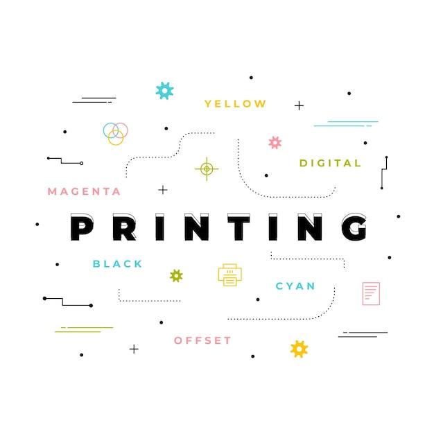 Digitaal drukconcept Gratis Vector